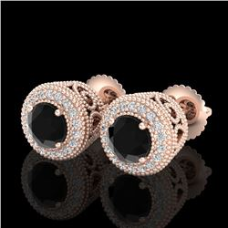 1.55 ctw Fancy Black Diamond Art Deco Stud Earrings 18k Rose Gold - REF-103A6N