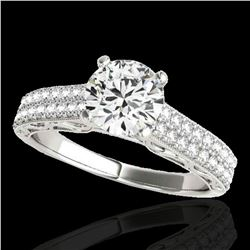 1.41 ctw Certified Diamond Solitaire Antique Ring 10k White Gold - REF-197X8A