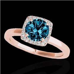 1.15 ctw SI Certified Fancy Blue Diamond Halo Ring 10k Rose Gold - REF-122Y6X