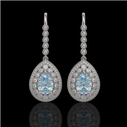 7.56 ctw Aquamarine & Diamond Victorian Earrings 14K White Gold - REF-310X4A