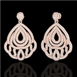 3 ctw Micro Pave VS/SI Diamond Earrings Designer 14k Rose Gold - REF-256G9W