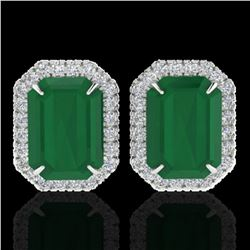 10.40 ctw Emerald & Micro Pave VS/SI Diamond Earrings 18k White Gold - REF-142A4N