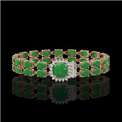 12.93 ctw Jade & Diamond Bracelet 14K Rose Gold - REF-245G5W
