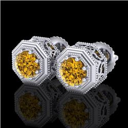 1.07 ctw Intense Fancy Yellow Diamond Art Deco Earrings 18k White Gold - REF-172R8K
