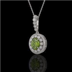4.22 ctw Tourmaline & Diamond Victorian Necklace 14K White Gold - REF-134W2H