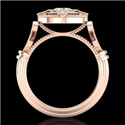 1.12 ctw VS/SI Diamond Solitaire Art Deco Ring 18k Rose Gold - REF-250G2W