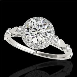 1.25 ctw Certified Diamond Solitaire Halo Ring 10k White Gold - REF-177Y3X