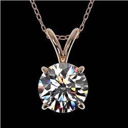 1.05 ctw Certified Quality Diamond Necklace 10k Rose Gold - REF-141X3A