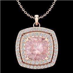 1.97 ctw Morganite & Micro VS/SI Diamond Necklace 14k Rose Gold - REF-76F4M