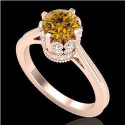 1.5 ctw Intense Fancy Yellow Diamond Art Deco Ring 18k Rose Gold - REF-209H3R