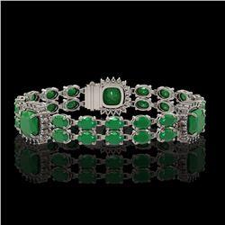 21.83 ctw Emerald & Diamond Bracelet 14K White Gold - REF-294A4N