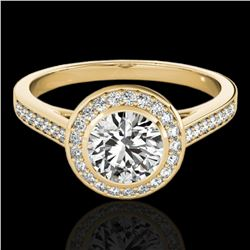 1.3 ctw Certified Diamond Solitaire Halo Ring 10k Yellow Gold - REF-197R8K
