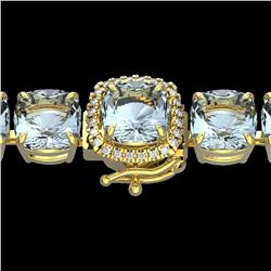 350 ctw Sky Blue Topaz & Micro VS/SI Diamond Bracelet 14k Yellow Gold - REF-158A2N