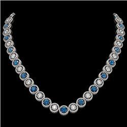 31.18 ctw Blue & Diamond Micro Pave Necklace 18K White Gold - REF-2904W4H