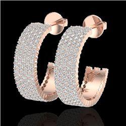 4.50 ctw Micro Pave VS/SI Diamond Earrings 14k Rose Gold - REF-292G5W