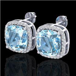 12 ctw Sky Blue Topaz & Pave VS/SI Diamond Earrings 18k White Gold - REF-83R3K