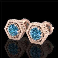 1.07 ctw Fancy Intense Blue Diamond Art Deco Earrings 18k Rose Gold - REF-131R8K