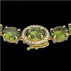 35.25 ctw Green Tourmaline & VS/SI Diamond Micro Necklace 14k Yellow Gold - REF-340N2F