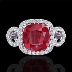 3.15 ctw Ruby & Micro VS/SI Diamond Certified Ring 18k White Gold - REF-76Y8X
