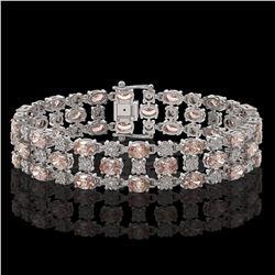 18.05 ctw Morganite & Diamond Bracelet 10K White Gold - REF-318H2R