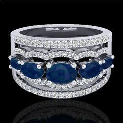 2.25 ctw Sapphire & Micro Pave VS/SI Diamond Designer Ring 10k White Gold - REF-81G8W