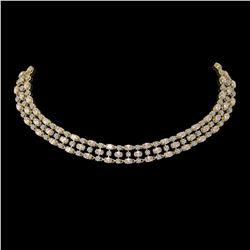 44.45 ctw Morganite & Diamond Necklace 10K Yellow Gold - REF-709F3M