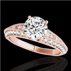 1.58 ctw Certified Diamond Solitaire Antique Ring 10k Rose Gold - REF-211H4R