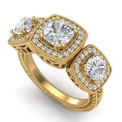 2.75 ctw Cushion VS/SI Diamond Art Deco 3 Stone Ring 18k Yellow Gold - REF-609K3Y