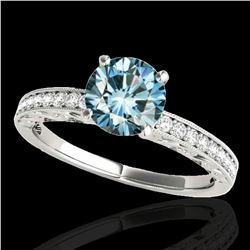 1.18 ctw SI Certified Blue Diamond Solitaire Antique Ring 10k White Gold - REF-120X2A