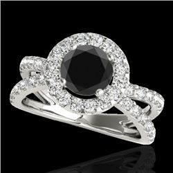2.01 ctw Certified VS Black Diamond Solitaire Halo Ring 10k White Gold - REF-74R6K