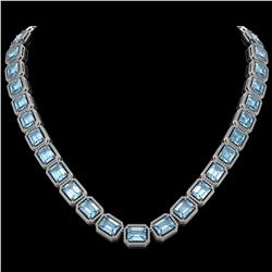 80.98 ctw Aquamarine & Diamond Micro Pave Halo Necklace 10k White Gold - REF-1317A3N