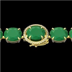76 ctw Emerald & Micro Pave Diamond Bracelet 14k Yellow Gold - REF-709H3R
