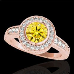 2 ctw Certified SI/I Fancy Intense Yellow Diamond Halo Ring 10k Rose Gold - REF-313R6K