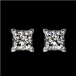 1 ctw Certified VS/SI Quality Princess Diamond Stud Earrings 10k White Gold - REF-120Y3X