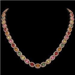 31.96 ctw Multi Color Sapphire & Diamond Micro Pave Necklace 10k Rose Gold - REF-674X4A