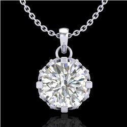 1.14 ctw VS/SI Diamond Solitaire Art Deco Stud Necklace 18k White Gold - REF-205A5N