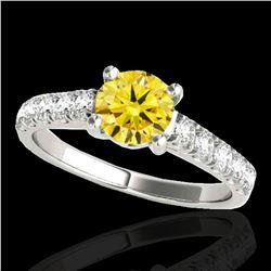 1.55 ctw Certified SI/I Fancy Intense Yellow Diamond Ring 10k White Gold - REF-245M5G