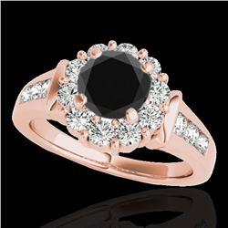 1.9 ctw Certified VS Black Diamond Solitaire Halo Ring 10k Rose Gold - REF-76G4W