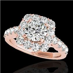 2.5 ctw Certified Diamond Solitaire Halo Ring 10k Rose Gold - REF-231W8H