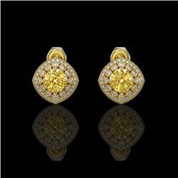 3.89 ctw Canary Citrine & Diamond Victorian Earrings 14K Yellow Gold - REF-108G5W