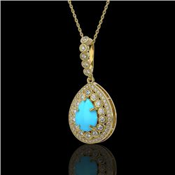 3.97 ctw Turquoise & Diamond Victorian Necklace 14K Yellow Gold - REF-125K6Y