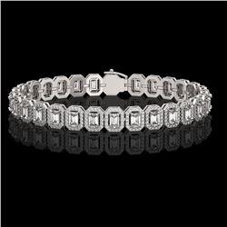 11.52 ctw Emerald Cut Diamond Micro Pave Bracelet 18K White Gold - REF-1370X9A