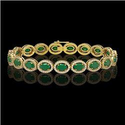 15.2 ctw Emerald & Diamond Micro Pave Halo Bracelet 10k Yellow Gold - REF-300G2W