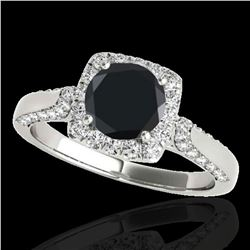 1.7 ctw Certified Black Diamond Solitaire Halo Ring 10k White Gold - REF-66M8G
