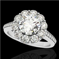 2 ctw Certified Diamond Solitaire Halo Ring 10k White Gold - REF-218N2F