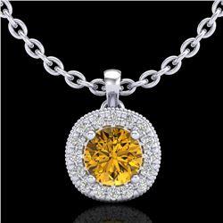 1.1 ctw Intense Fancy Yellow Diamond Art Deco Necklace 18k White Gold - REF-167G6W