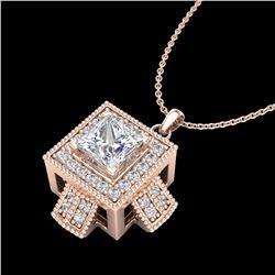 0.84 ctw Princess VS/SI Diamond Micro Pave Necklace 18k Rose Gold - REF-149N3F