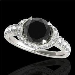 1.75 ctw Certified VS Black Diamond Solitaire Halo Ring 10k White Gold - REF-64W8H