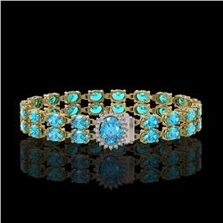 29.22 ctw Swiss Topaz & Diamond Bracelet 14K Yellow Gold - REF-218H2R