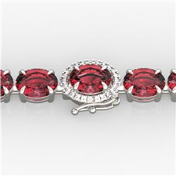 17.25 ctw Pink Tourmaline & Diamond Micro Bracelet 14k White Gold - REF-218H2R